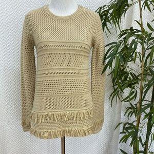 NEW Chelsea & Theodore Crew Neck Fringe Sweater XS